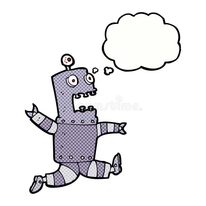 robô terrificado desenhos animados com bolha do pensamento ilustração stock