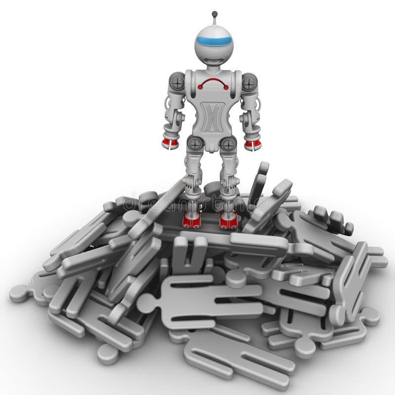 Robô-vencedor em uma pilha de povos caídos ilustração royalty free