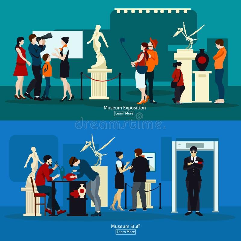 Roba del museo ed esposizione della galleria illustrazione di stock