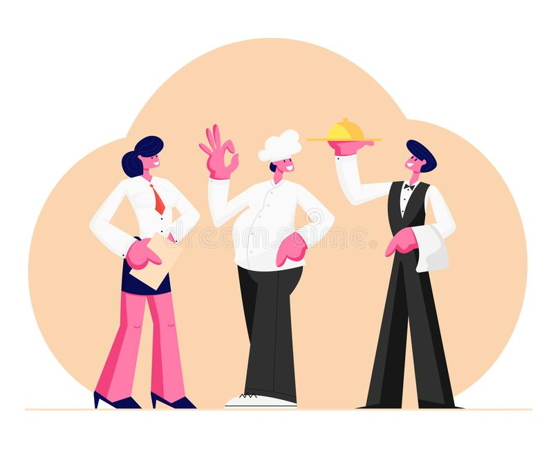 Roba del ristorante Amministratore Girl con il taccuino, capo in Toque, cameriere Holding Tray dell'uomo con il piatto sotto il c illustrazione di stock