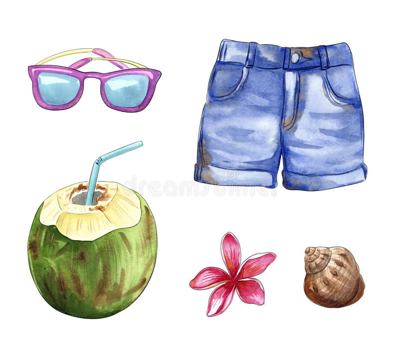 Roba di viaggio di vacanze estive, oggetti della spiaggia: gli shorts, occhiali da sole, noce di cocco, coperture, plumeria fiori illustrazione di stock