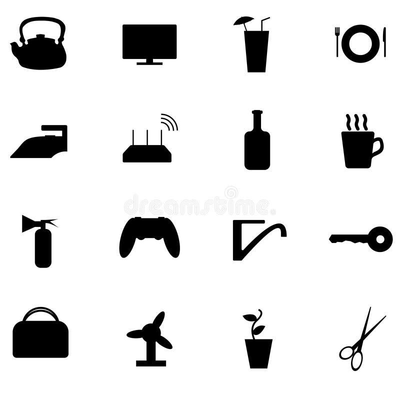 Roba domestica nera stabilita dell'icona fotografia stock libera da diritti