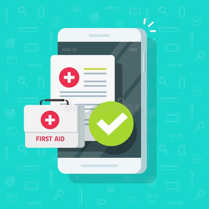 Roba medica sul vettore dello smartphone, sul telefono cellulare piano del fumetto, sulla forma del documento di assicurazione e  royalty illustrazione gratis