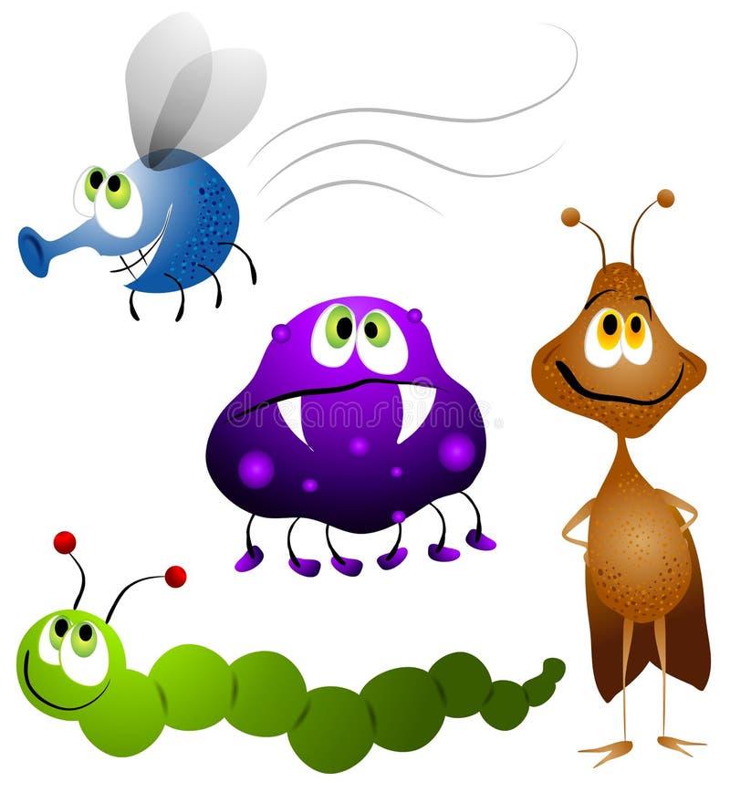 robaki kreskówki owady brzydkie ilustracja wektor