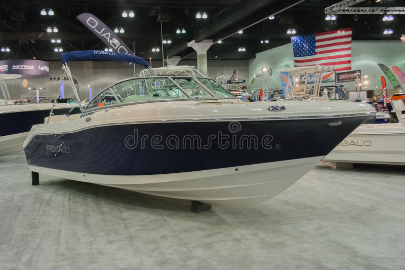 Robalo boat on display. Los Angeles, California, USA - February 19, 2015 - Robalo boat on display at the Progressive Los Angeles Boat Show in L.A. Convention stock photo