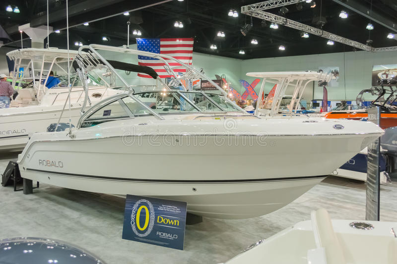 Robalo boat on display. Los Angeles, California, USA - February 19, 2015 - Robalo boat on display at the Progressive Los Angeles Boat Show in L.A. Convention royalty free stock photo