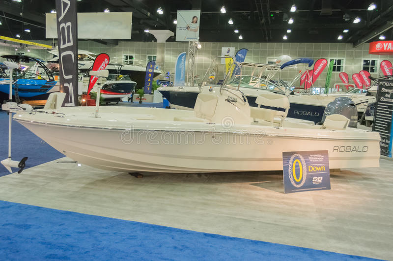 Robalo boat on display. Los Angeles, California, USA - February 19, 2015 - Robalo boat on display at the Progressive Los Angeles Boat Show in L.A. Convention royalty free stock photography