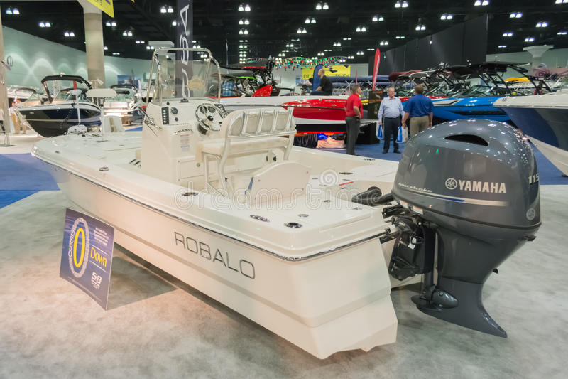 Robalo boat on display. Los Angeles, California, USA - February 19, 2015 - Robalo boat on display at the Progressive Los Angeles Boat Show in L.A. Convention stock photos