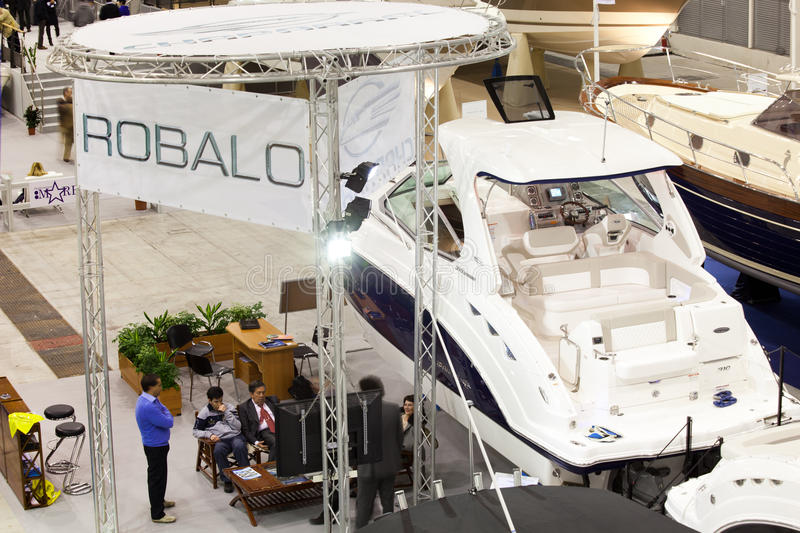 Robalo Boats Stand At Big Blue Expo Sea Show. Rome, Italy, February 19, 2011: Big Blue Rome Sea Expo - Boat Show Rome 2011 After the first 4 editions success stock images