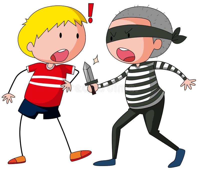 Robbber está ameaçando um menino ilustração do vetor