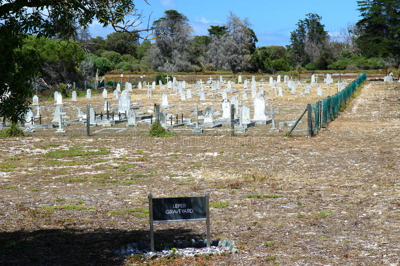 Robben Island cemetery. Cemetery from a part of prisoners in Robben Island, place where Nelson Mandela was in jail stock photos