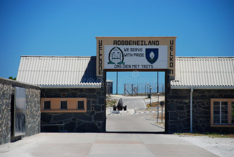 Robben Island prison entrance. Cape Town. Western Cape, South Africa. Robben Island is an island in Table Bay, 6.9 km west of the coast of Bloubergstrand, Cape stock image
