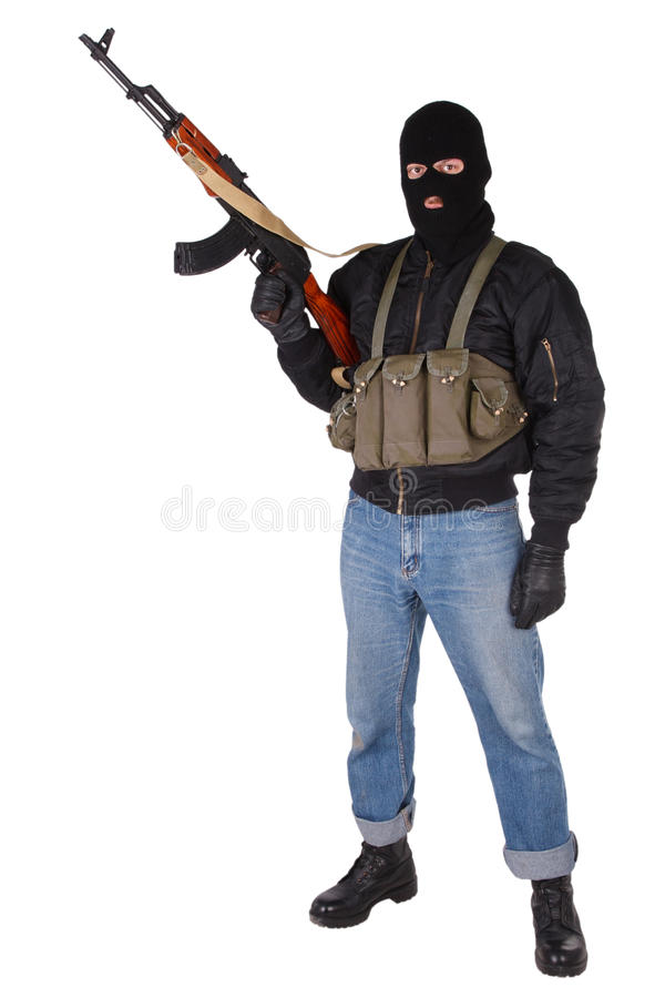 Download Robber With AK 47 Stock Photo Image Of Male Rifle Balaclava