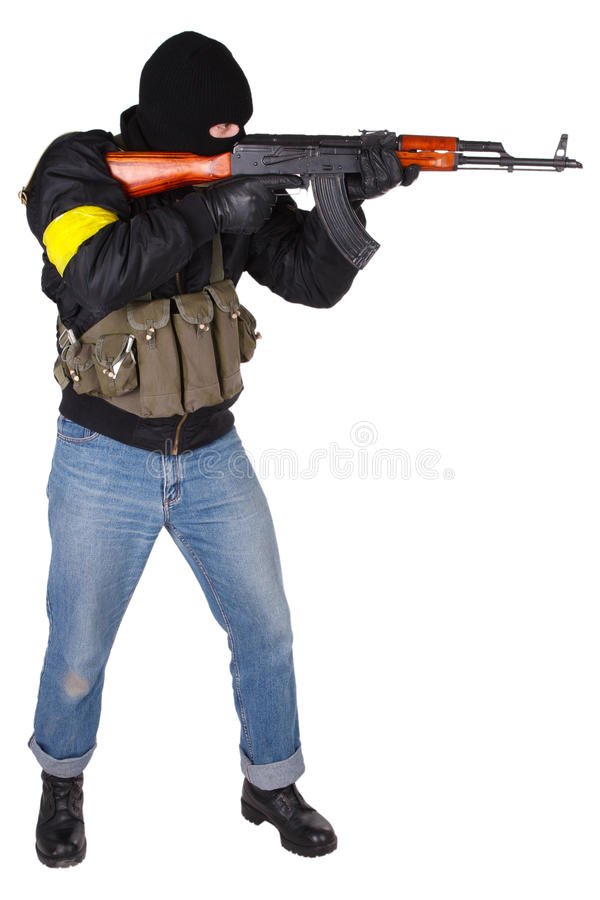 Download Robber With AK 47 Stock Photo Image Of Balaclava Black