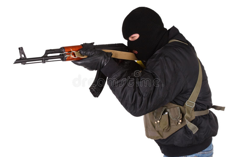 Download Robber With AK 47 Stock Photo Image Of Hand Black Gangster