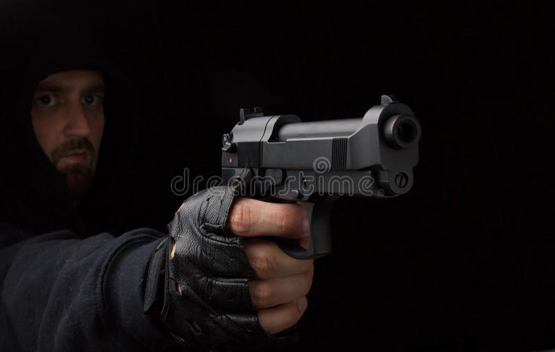 Download Robber with gun stock photo. Image of aiming, crime, convict - 25958688