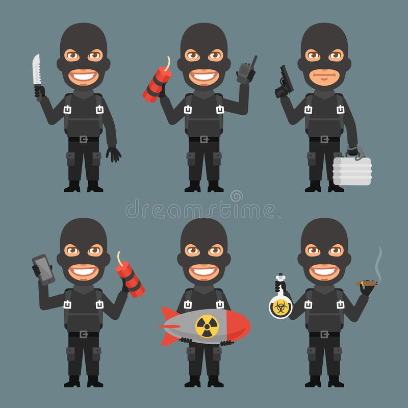 Robber Holds Weapons Suitcase Bomb royalty free illustration