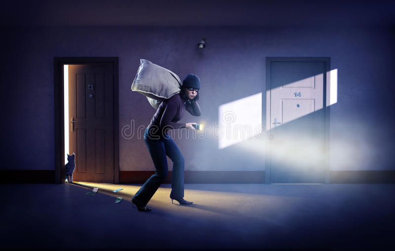 Robber in a mask with bags of money stock image