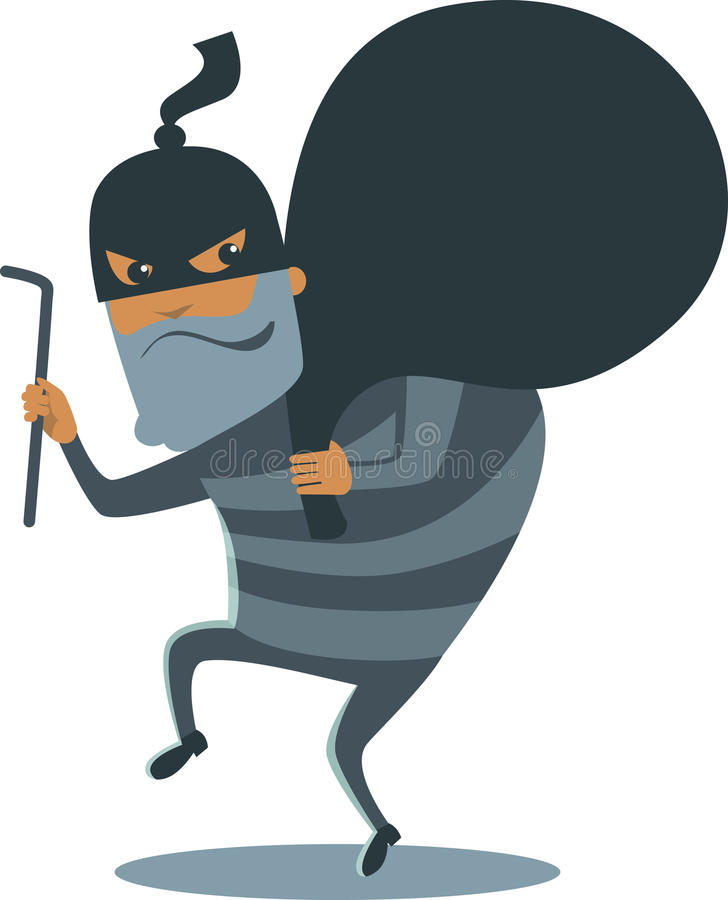 Robber in mask royalty free illustration