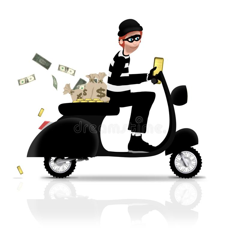 Robber on Scooter royalty free stock photos