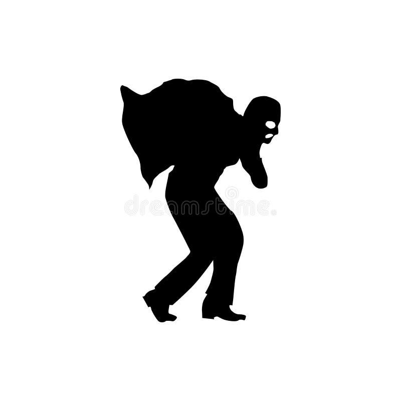 Robber silhouette black stock illustration