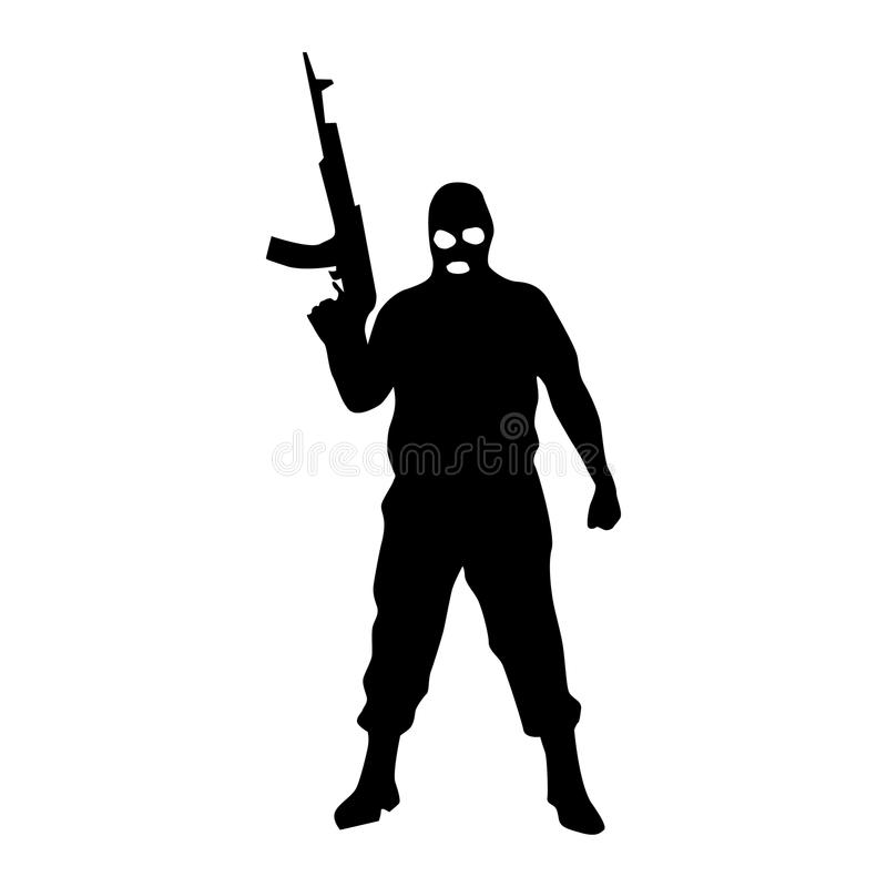 Robber Silhouette Black Stock Vector. Illustration Of