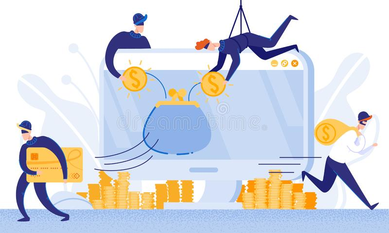 Robbers Steal Money from E-Banking System. Vector. vector illustration