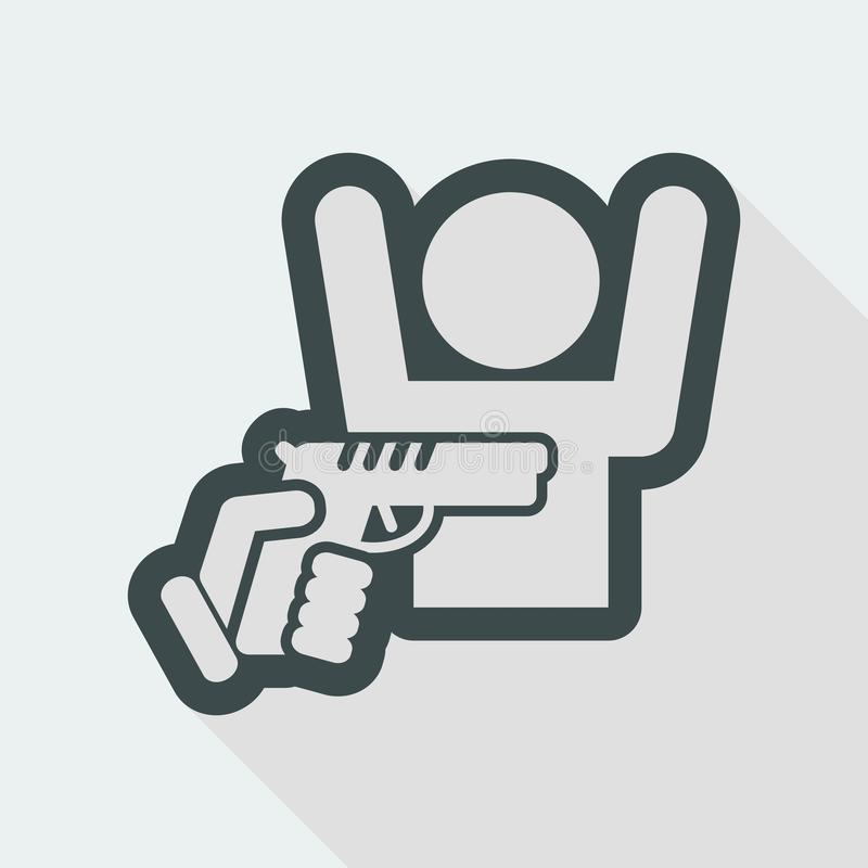 Robbery with gun. Flat and isolated vector eps illustration icon with minimal design and long shadow vector illustration