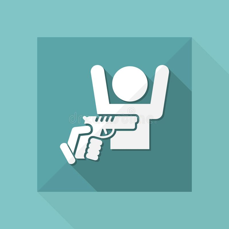 Robbery with gun. Flat and isolated vector eps illustration icon with minimal design and long shadow stock illustration