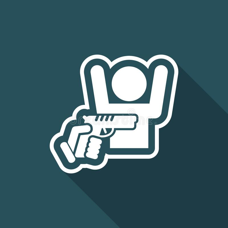 Robbery with gun. Flat and vector eps illustration icon with minimal design and long shadow vector illustration