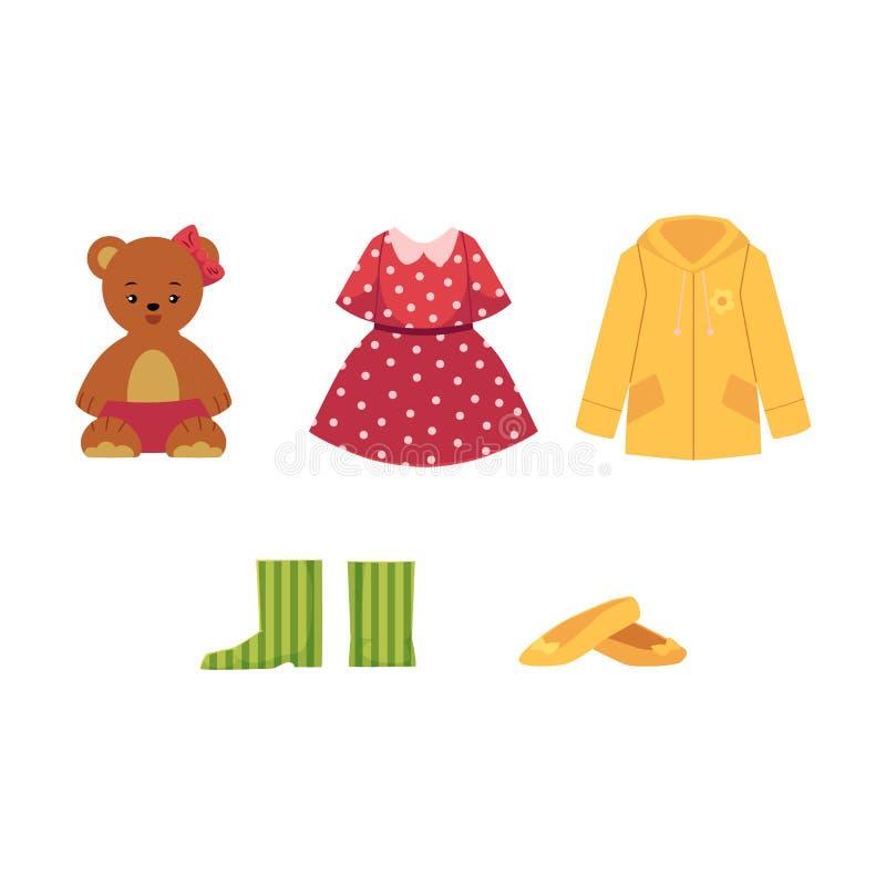 Robe, chaussures, manteau, ours de nounours, chaussures et bottes illustration libre de droits