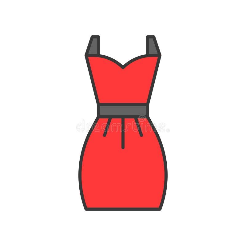 Robe courte rouge, course editable remplie d'ensemble de couleur illustration libre de droits
