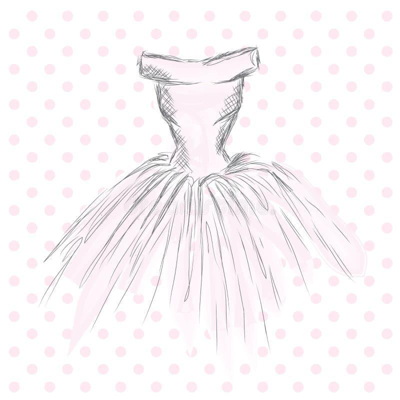 Robe dans le vecteur Vêtements de dessin de main cru Mode illustration stock