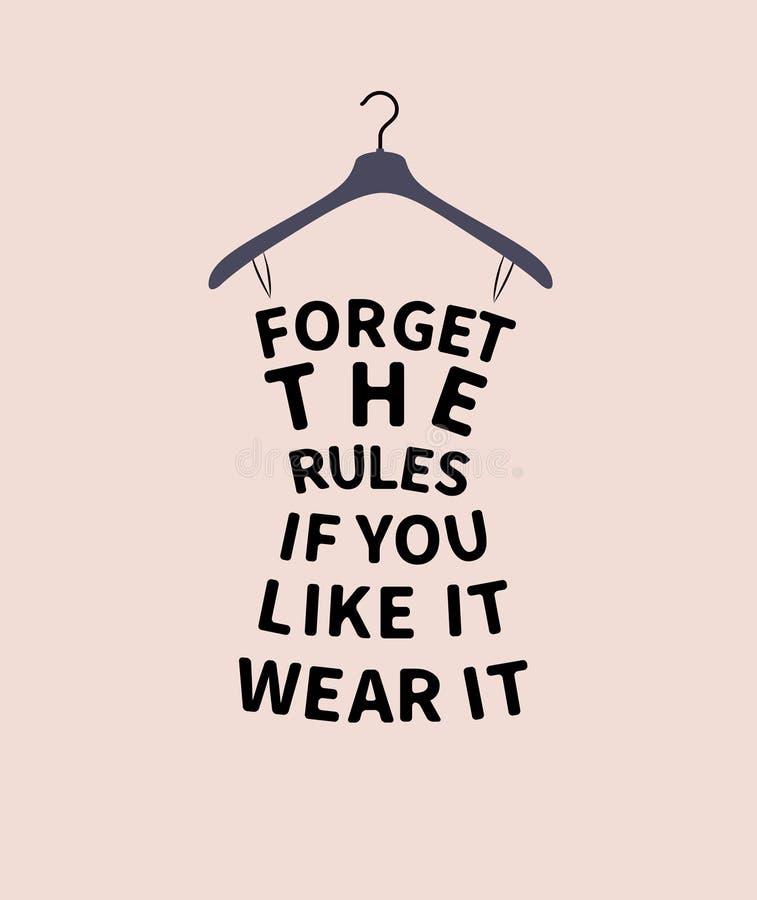 Robe de femme de mode avec la citation illustration stock