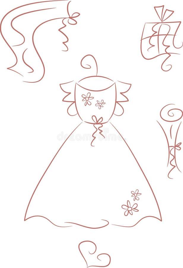 Robe de mariage (+ accessoires) illustration libre de droits