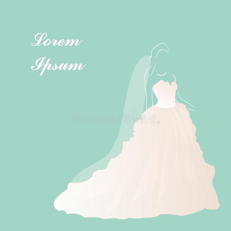 Robe de mariage de jeune mariée, douche nuptiale, belle robe blanche, illustration de vecteur illustration libre de droits