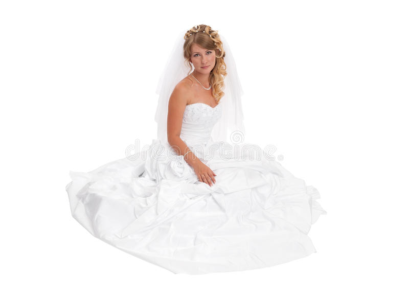 Robe de mariage s'usante de beau femme image libre de droits