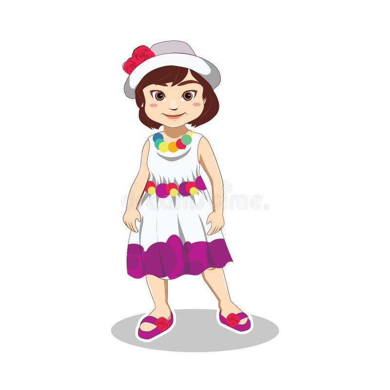 Robe de port mignonne, chapeau et pantoufle de petite fille dans des vacances d'été illustration stock