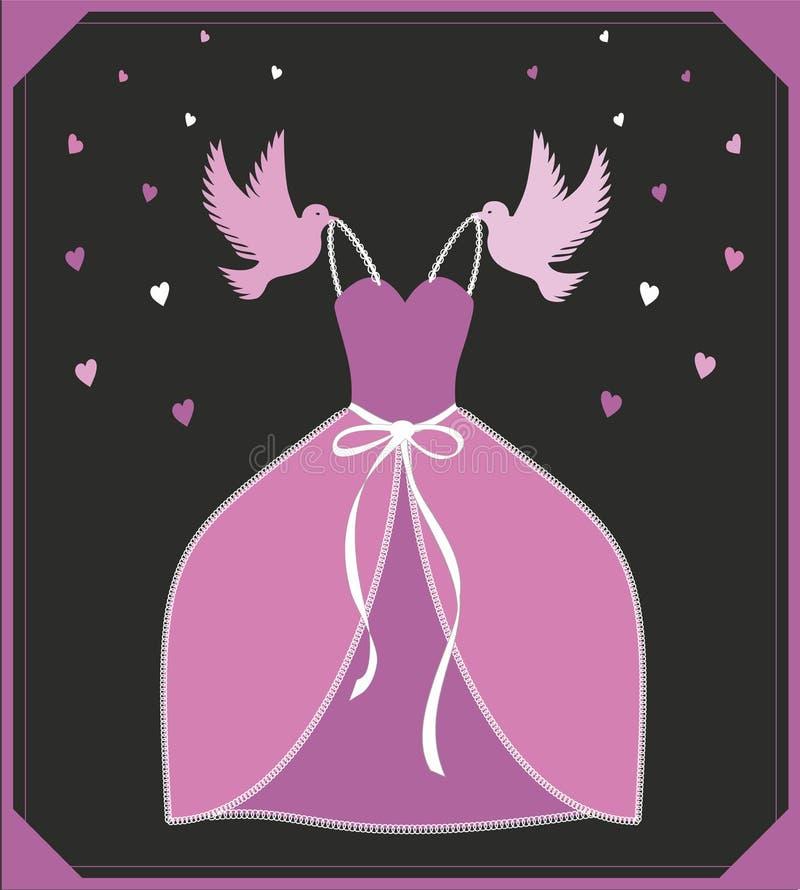 Robe de rose d'illustration de vecteur Signe ou affiche pour le magasin, la publicité ou l'invitation Cendrillon - inspiration d' illustration de vecteur
