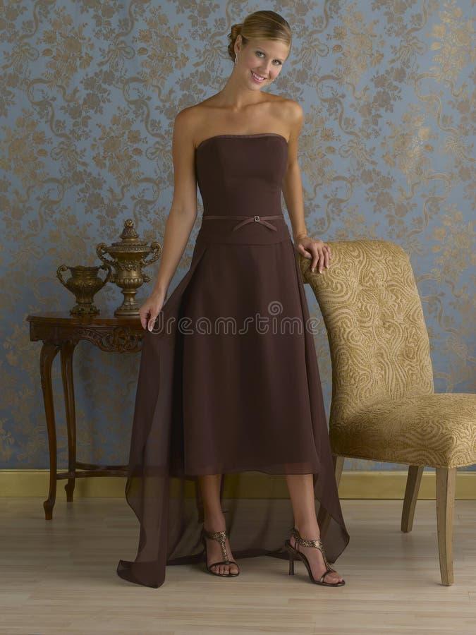 Robe de soirée de Brown image stock