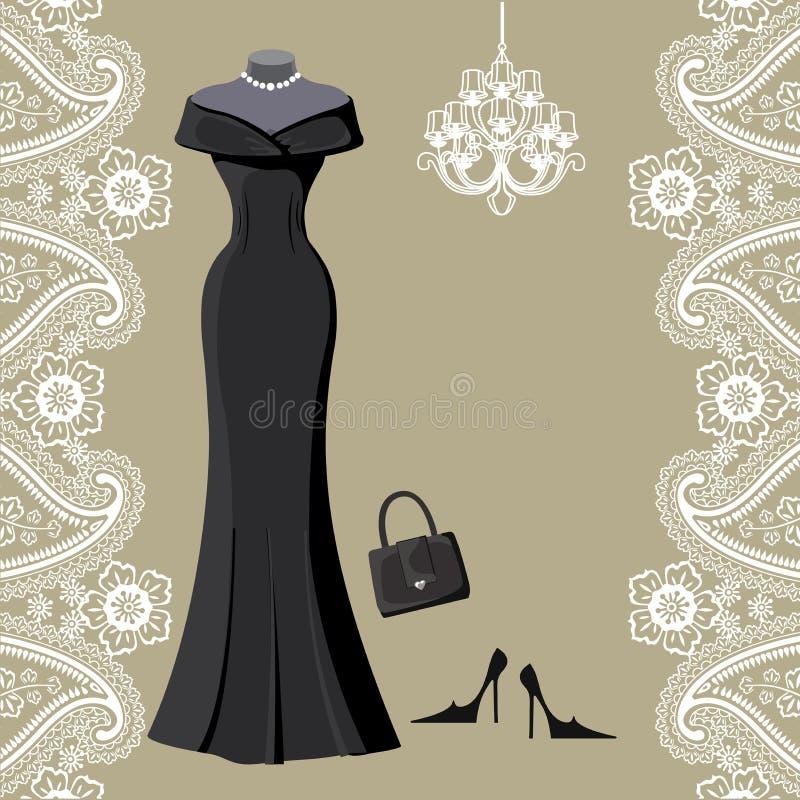 Robe habillée noire avec le lustre et la frontière de Paisley illustration stock