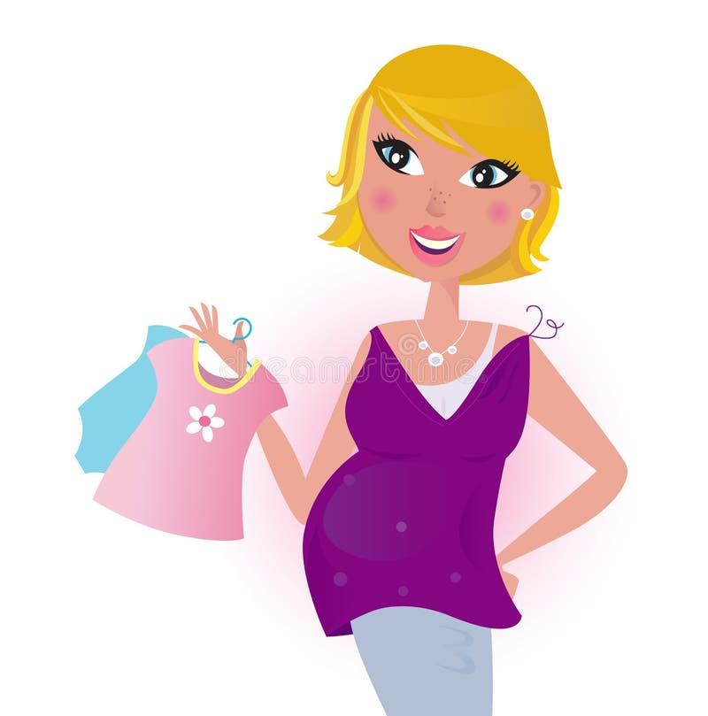 Robe mignonne d'achats de maman de cheveu blond pour sa chéri illustration stock