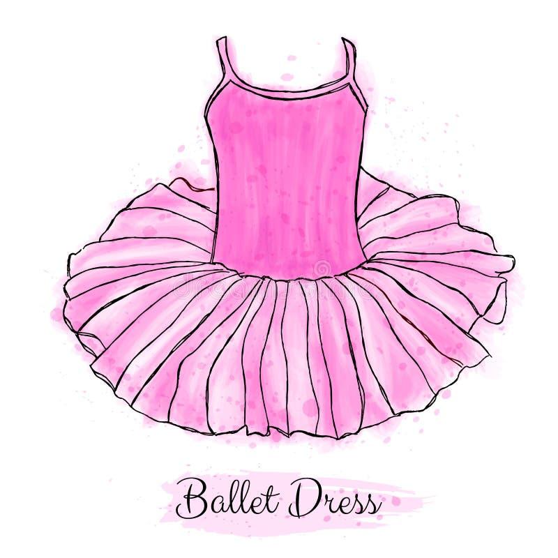 Robe rose de tutu de ballerine Robe de danse de ballet de représentation illustration de vecteur
