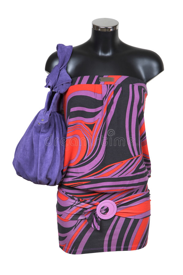 Robe tricotée par femelle photo stock
