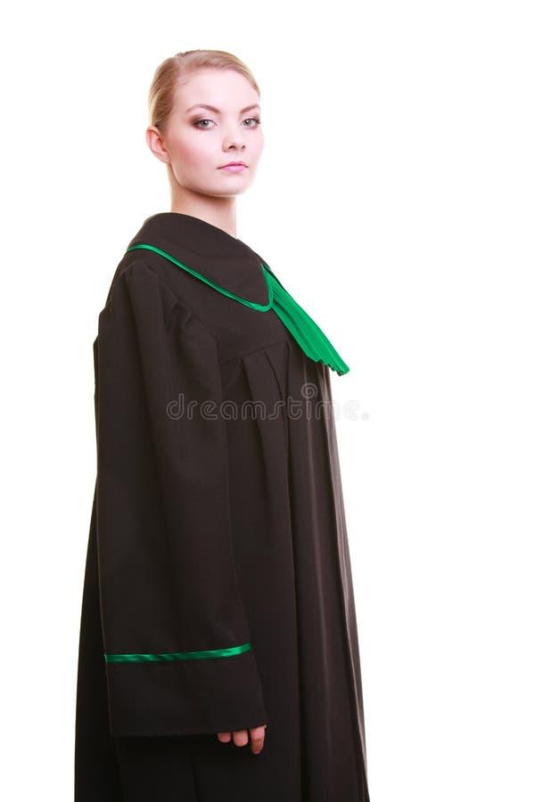 Robe verte noire polonaise de port de classique de jeune mandataire féminine d'avocat photo libre de droits