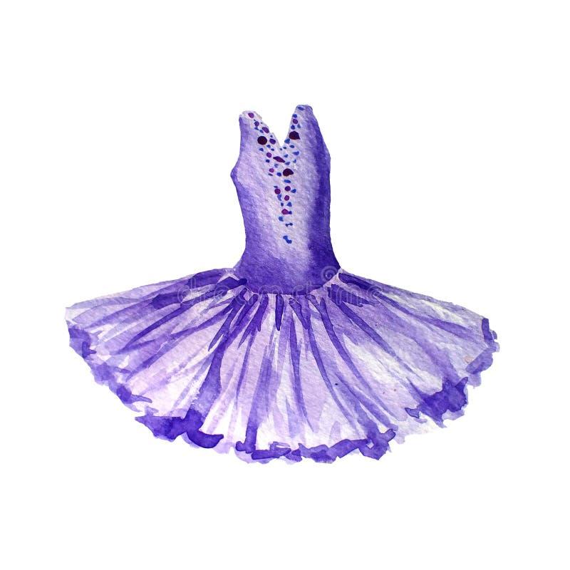 Robe violette de ballet Illustration d'aquarelle d'isolement sur le fond blanc tutu illustration stock