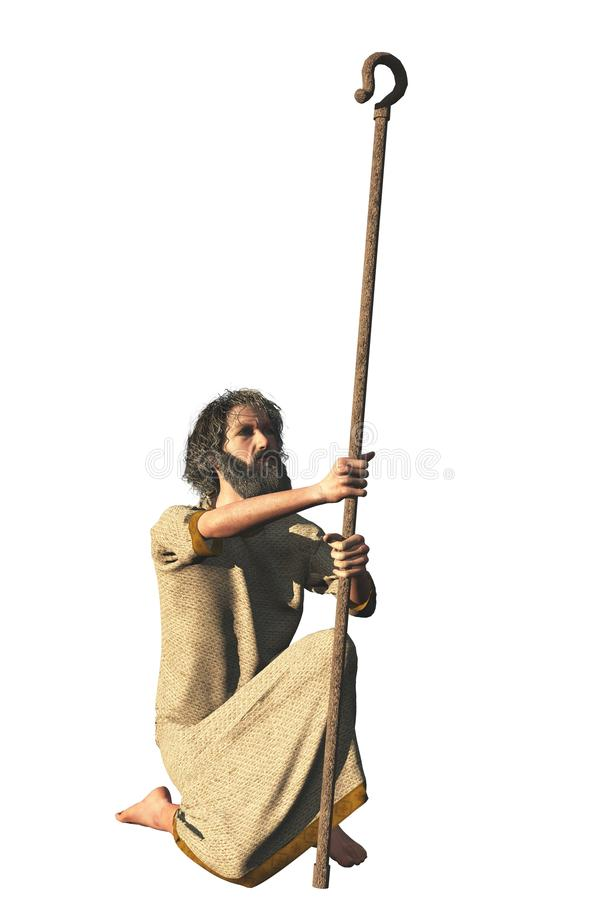 Robed bearded hermit with shepherd crook. Isolated generic hermit figure in robes kneeling and holding shepherd crook that could represent various biblical stock images
