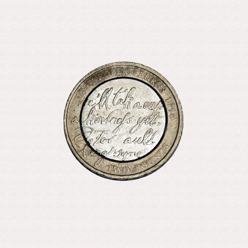Robert Burns £2 mynt royaltyfria bilder