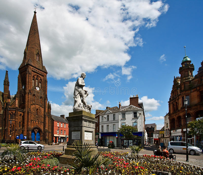 Robert Burns Statue. Outside Greyfriars Church near Dumfries Town Centre in Dumfries and Galloway on the Scottish Borders stock photography