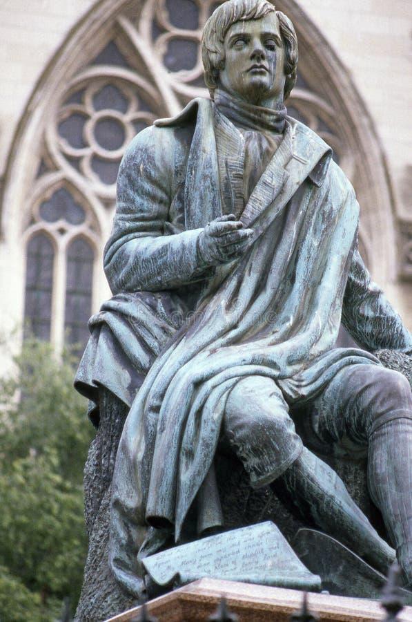 Robert Burns. Statue of writer, Robert Burns, in Dunedin, New Zealand royalty free stock image